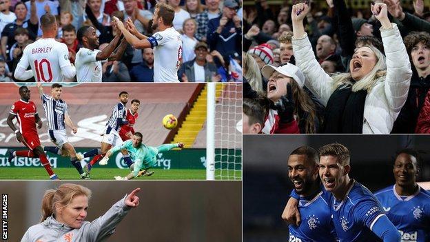 i̇ngiltere oyuncuları, bir premier lig maçı, rangers oyuncuları, futbol taraftarları ve i̇ngiltere kadınlarının yeni patronu sarina wiegman'ın bölünmüş bir görüntüsü
