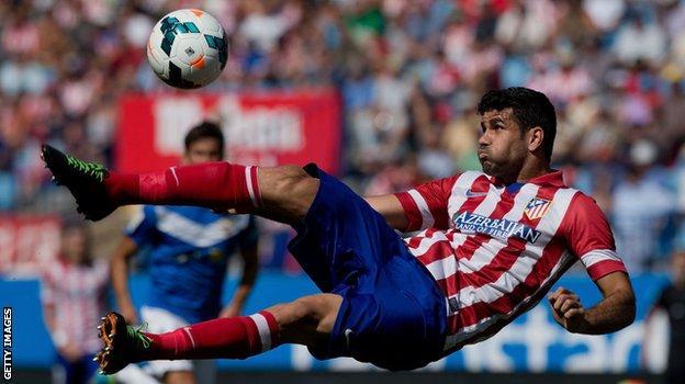 diego costa, atletico madrid için iş başında