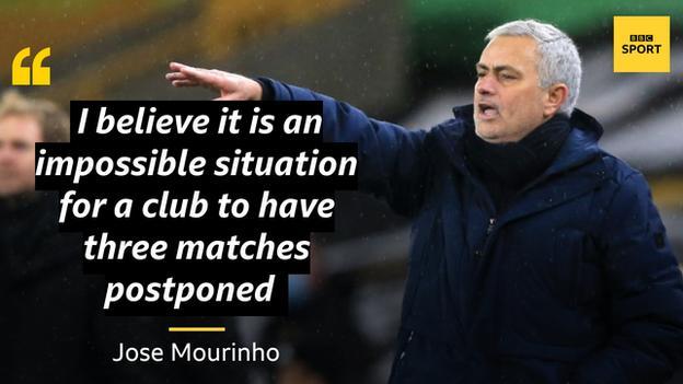 mourinho'nun alıntısı şöyle diyor: bir kulübün üç maçı ertelemesinin imkansız bir durum olduğuna inanıyorum.